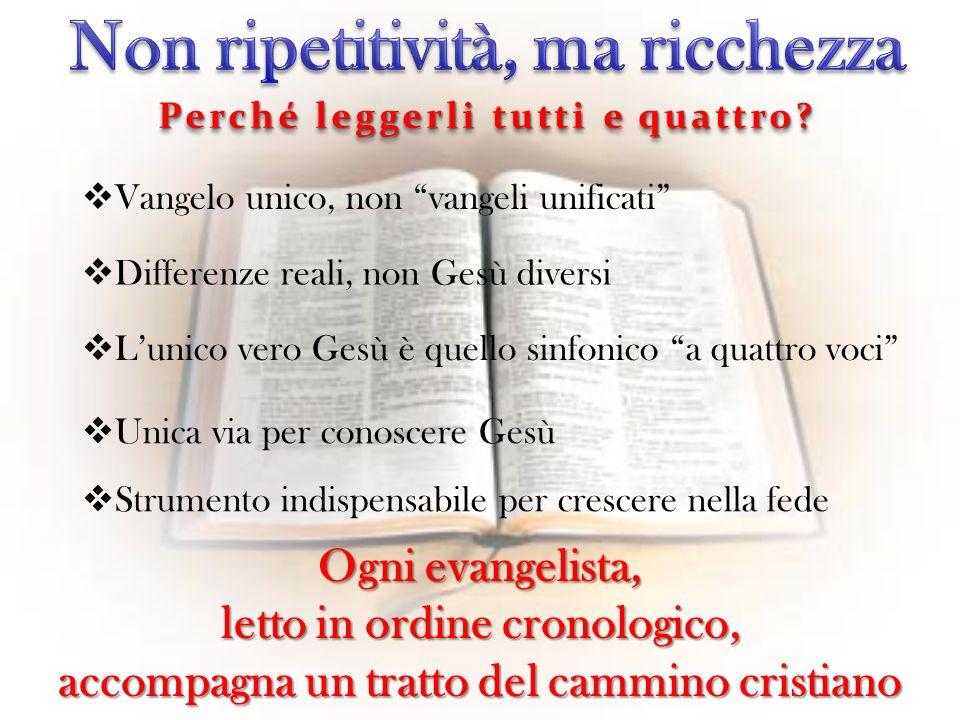 Vangelo unico, non vangeli unificati Differenze reali, non Gesù diversi Lunico vero Gesù è quello sinfonico a quattro voci Unica via per conoscere Ges