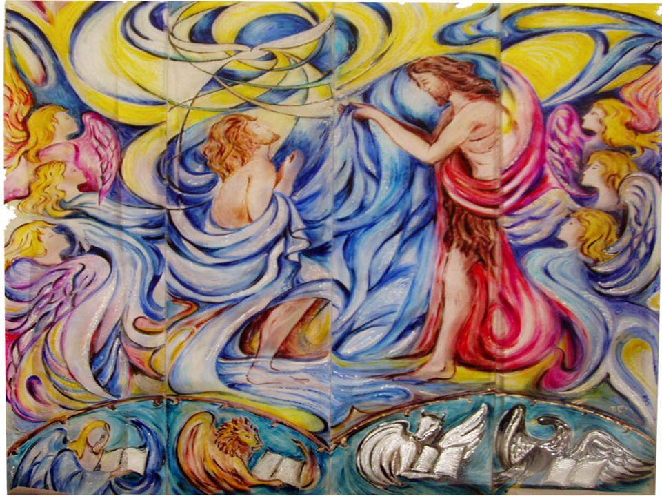 MATTEO simboleggiato nelluomo alato (o angelo), perché il suo Vangelo inizia con l elenco degli uomini antenati di Gesù Messia MARCO simboleggiato nel leone perché il suo Vangelo comincia con la predicazione di Giovanni Battista nel deserto abitato da fiere selvagge LUCA simboleggiato nel toro perché il suo Vangelo comincia con la visione di Zaccaria mentre offre il sacrificio nel tempio GIOVANNI simboleggiato nellaquila, l occhio che fissa il sole senza bruciarsi, perché il suo Vangelo si apre con la contemplazione di Gesù-Dio