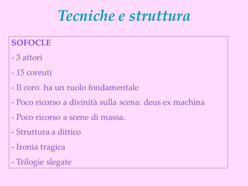 SOFOCLE - 3 attori - 15 coreuti - Il coro ha un ruolo fondamentale - Poco ricorso a divinità sulla scena: deus ex machina - Poco ricorso a scene di ma