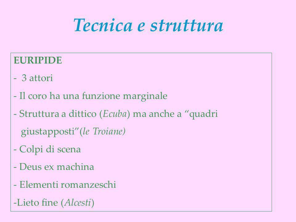 EURIPIDE - 3 attori - Il coro ha una funzione marginale - Struttura a dittico (Ecuba) ma anche a quadri giustapposti(le Troiane) - Colpi di scena - De