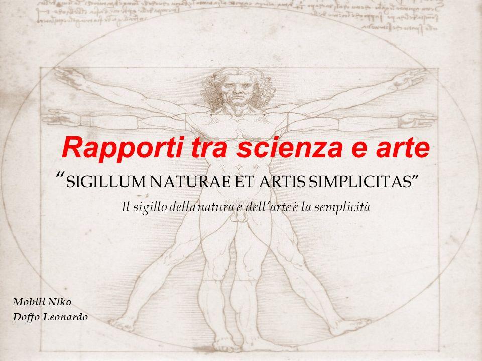 Rapporti tra scienza e arte SIGILLUM NATURAE ET ARTIS SIMPLICITAS Il sigillo della natura e dellarte è la semplicità Mobili Niko Doffo Leonardo