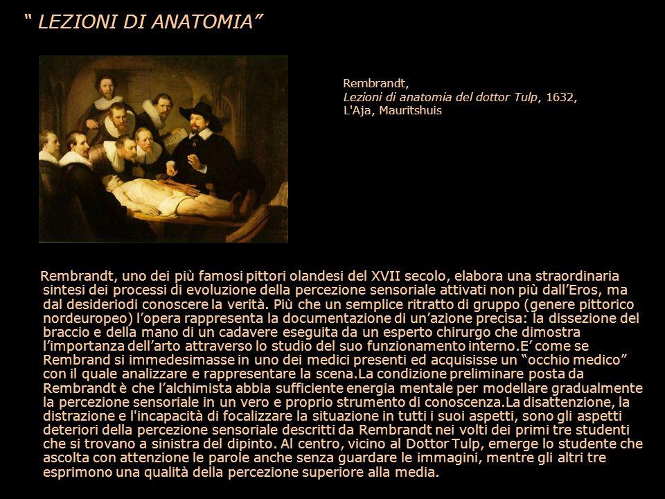 LEZIONI DI ANATOMIA Rembrandt, Lezioni di anatomia del dottor Tulp, 1632, L'Aja, Mauritshuis Rembrandt, uno dei più famosi pittori olandesi del XVII s