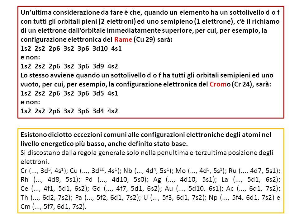 Unultima considerazione da fare è che, quando un elemento ha un sottolivello d o f con tutti gli orbitali pieni (2 elettroni) ed uno semipieno (1 elet