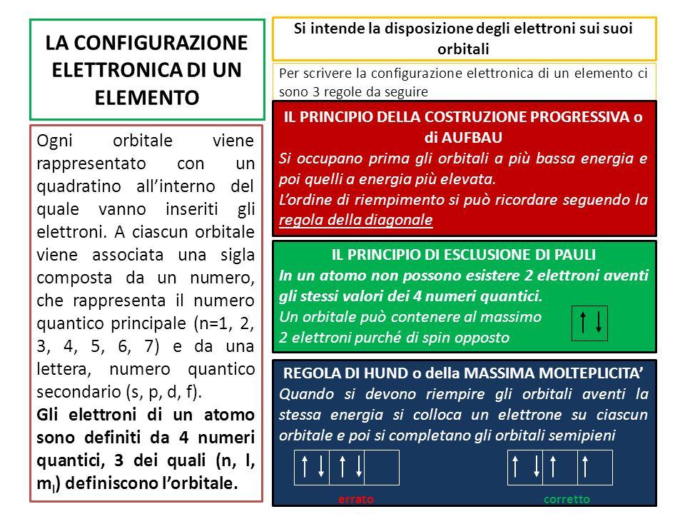 SUCCESSIONE ENERGETICA DEGLI ORBITALI 5 6 6a E 1s 1 2 2s 2p 3 3d 4d 4p 3s 3p 4 4s 4f 5p 5s 5d 5f 6p Lenergia di ogni orbitale è sempre diversa da un altro Tra il livello 3 ed il livello 4 vi è una sovrapposizione dei livelli energetici Tra il livello 3 ed il livello 4 vi è una sovrapposizione dei livelli energetici Gli elettroni si sistemeranno sempre al livello energetico più basso se non è occupato Gli elettroni si sistemeranno sempre al livello energetico più basso se non è occupato Nel riempimento elettronico si dovrà procedere cominciando dal livello più basso e procedere verso il successivo Nel riempimento elettronico si dovrà procedere cominciando dal livello più basso e procedere verso il successivo
