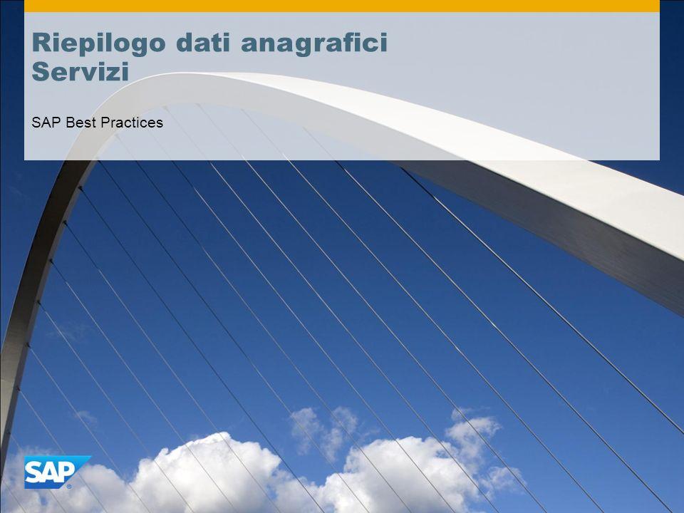 Riepilogo dati anagrafici Servizi SAP Best Practices