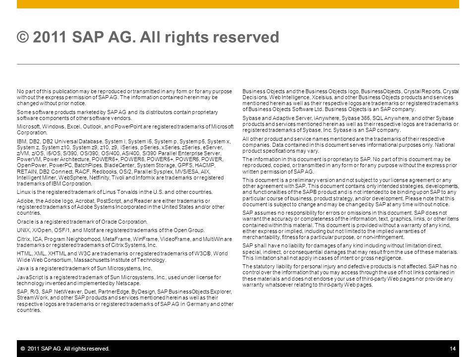 ©2011 SAP AG. All rights reserved.14 No part of this publication may be reproduced or transmitted in any form or for any purpose without the express p
