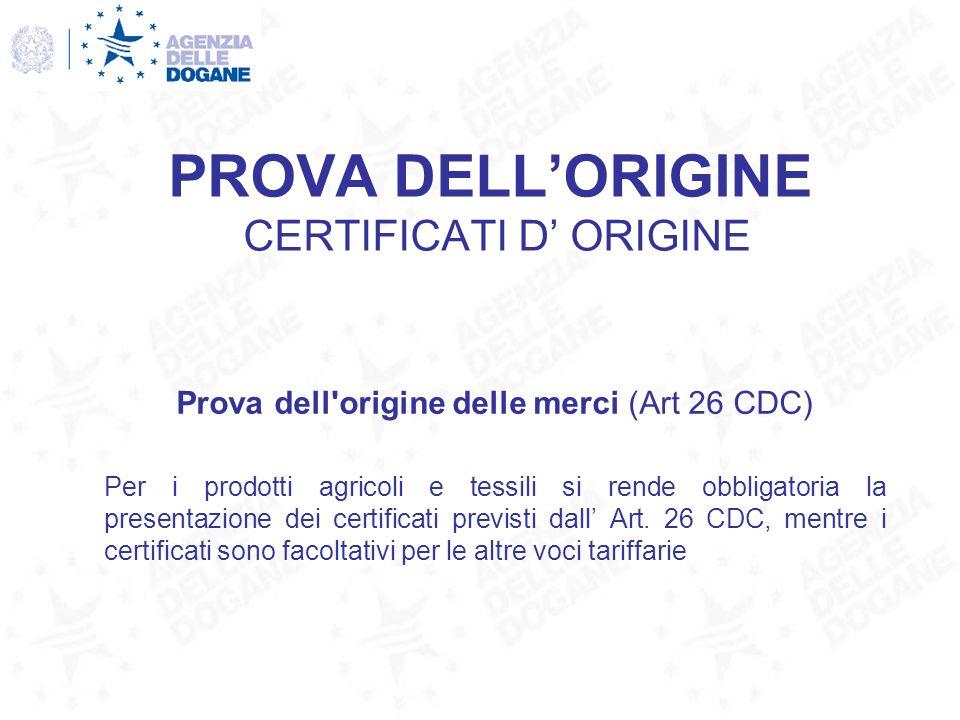 PROVA DELLORIGINE CERTIFICATI D ORIGINE Prova dell'origine delle merci (Art 26 CDC) Per i prodotti agricoli e tessili si rende obbligatoria la present