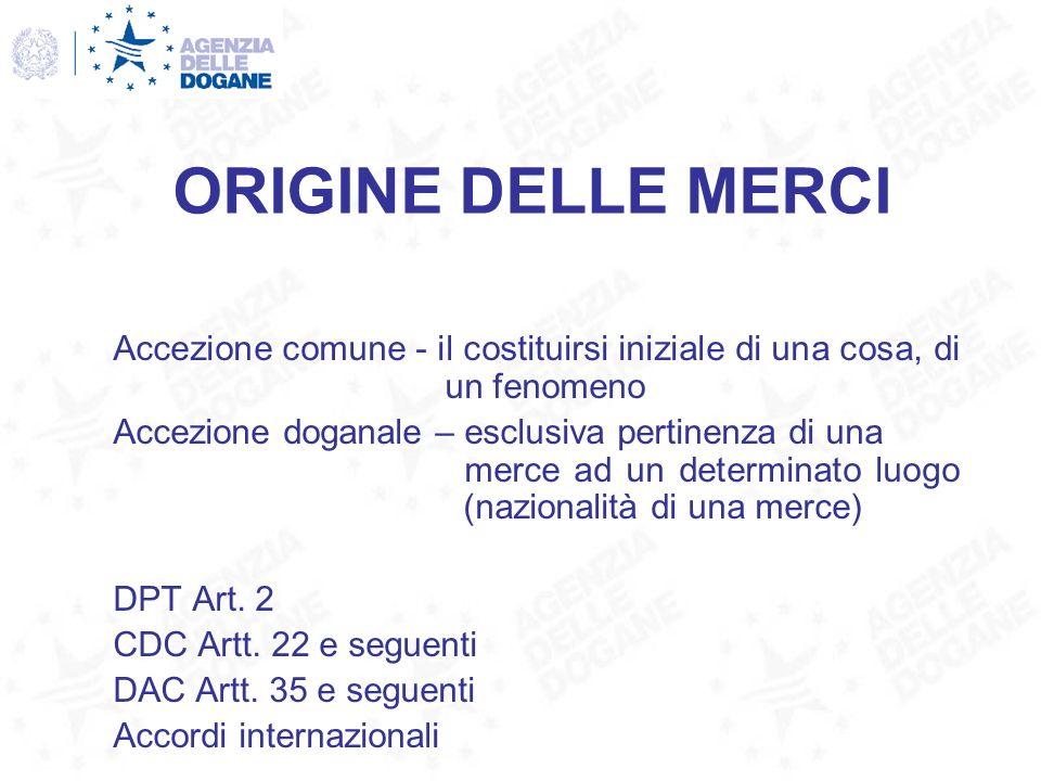 ORIGINE DELLE MERCI DPT Art.2 DPR 26/06/1965 n.
