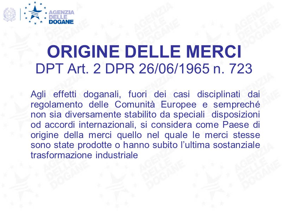 PROVA DELLORIGINE CERTIFICATI DORIGINE art.
