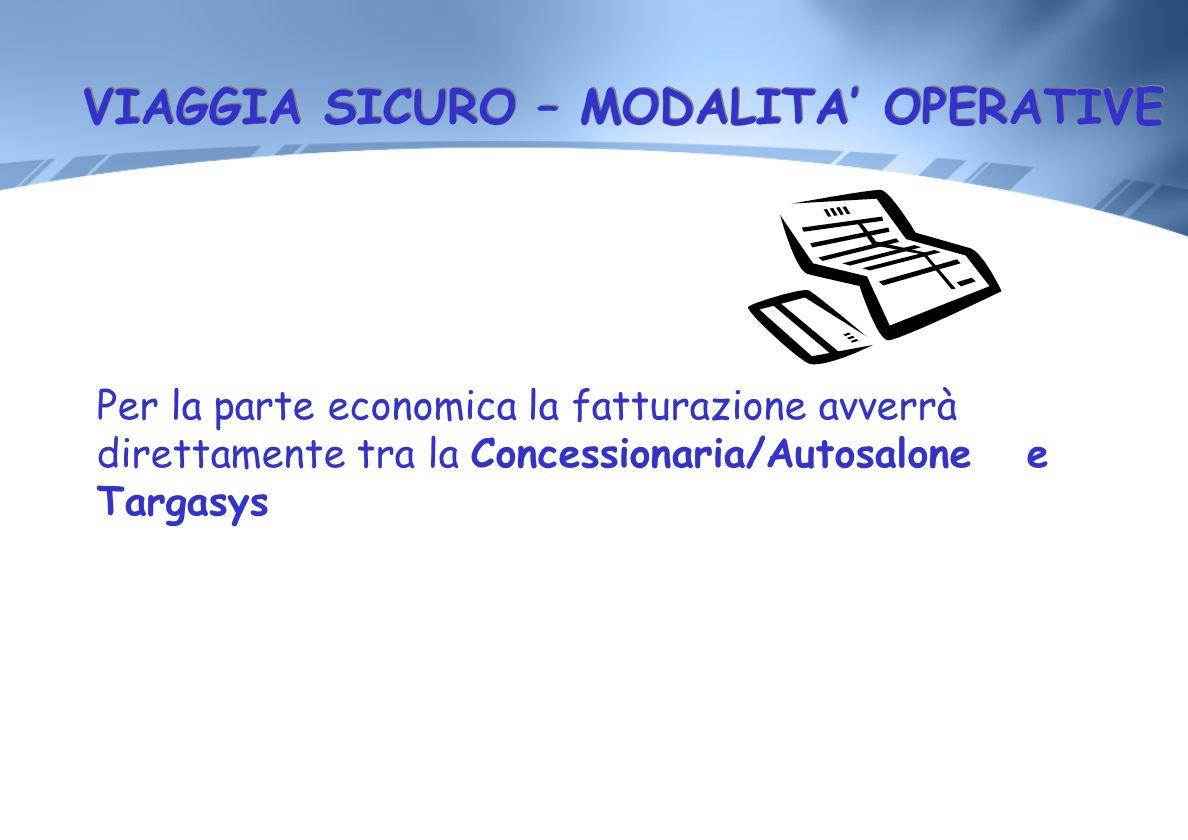 VIAGGIA SICURO – MODALITA OPERATIVE Per la parte economica la fatturazione avverrà direttamente tra la Concessionaria/Autosalone e Targasys