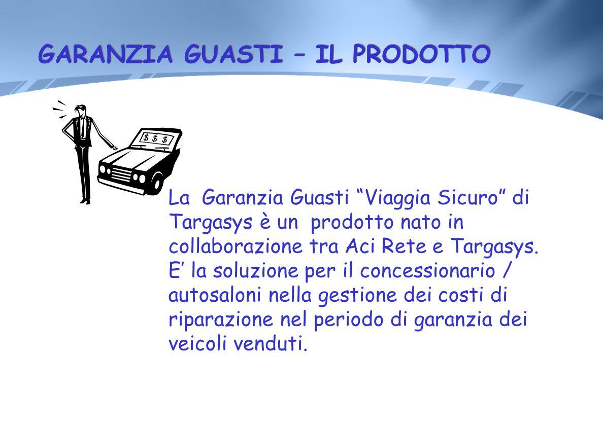 GARANZIA GUASTI – IL PRODOTTO La Garanzia Guasti Viaggia Sicuro di Targasys è un prodotto nato in collaborazione tra Aci Rete e Targasys. E la soluzio