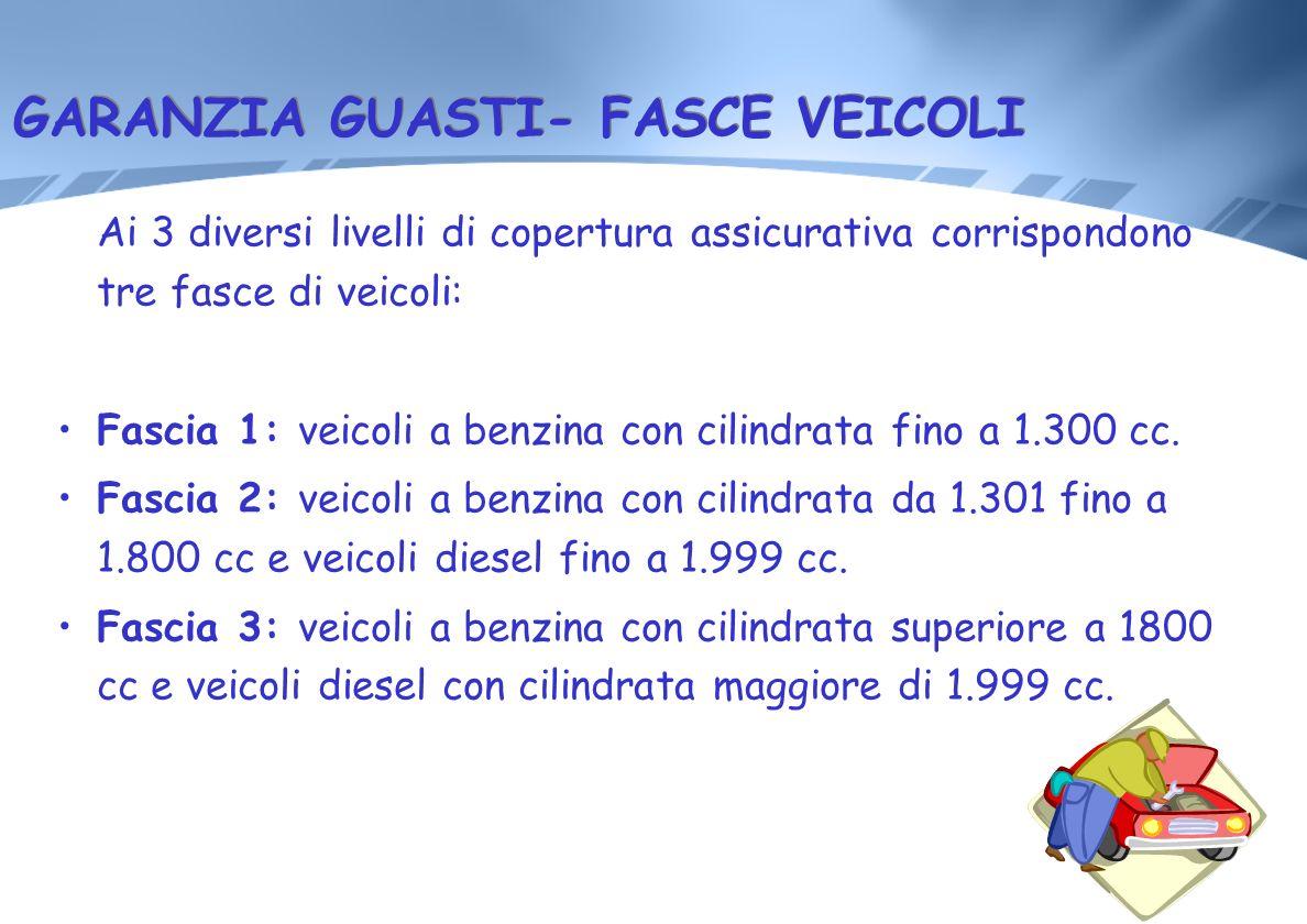 GARANZIA GUASTI- FASCE VEICOLI Ai 3 diversi livelli di copertura assicurativa corrispondono tre fasce di veicoli: Fascia 1: veicoli a benzina con cili