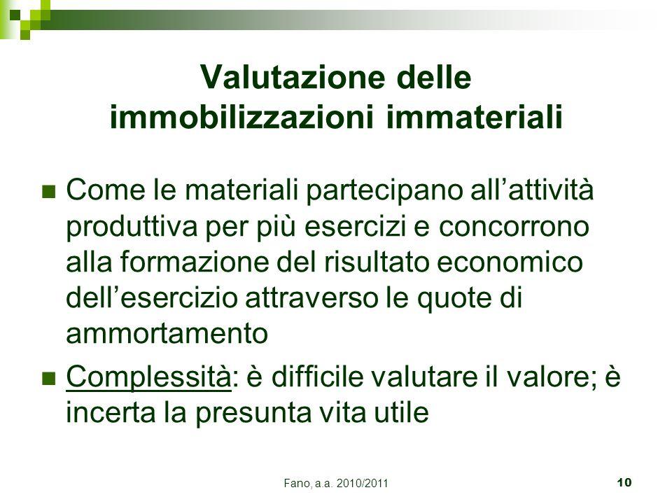 Fano, a.a. 2010/201110 Come le materiali partecipano allattività produttiva per più esercizi e concorrono alla formazione del risultato economico dell