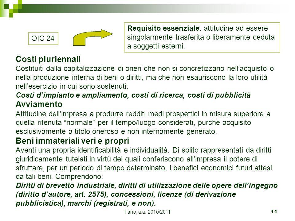 Fano, a.a. 2010/201111 OIC 24 Costi pluriennali Costituiti dalla capitalizzazione di oneri che non si concretizzano nellacquisto o nella produzione in