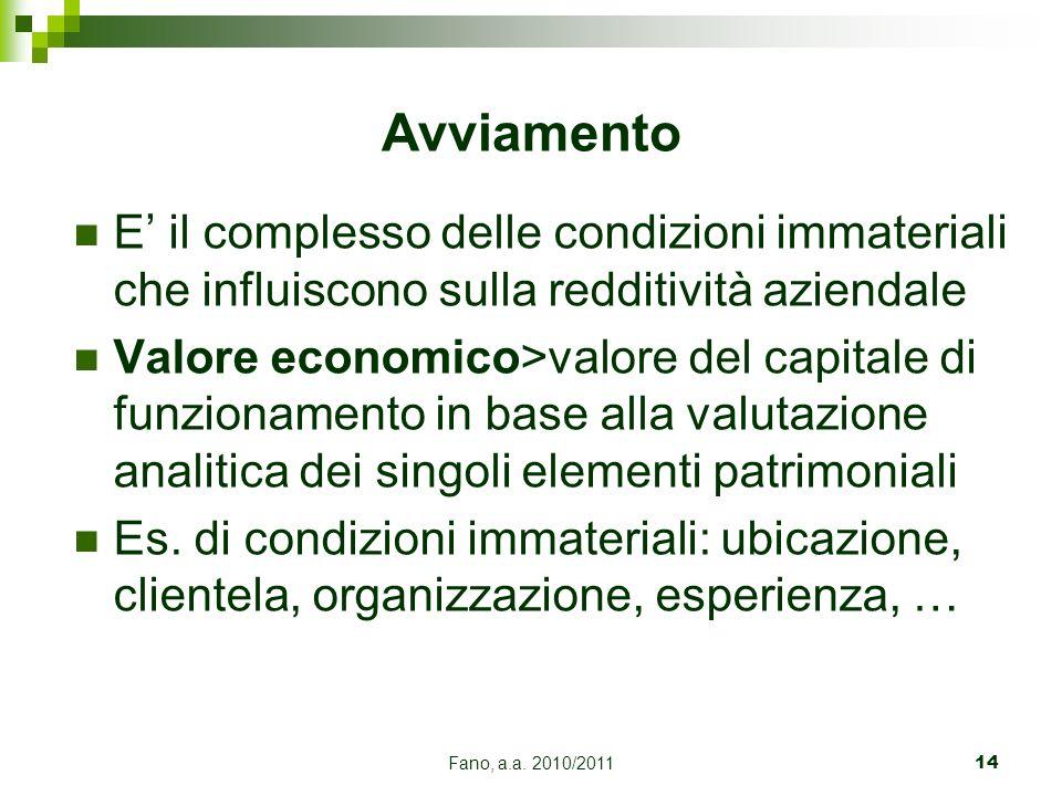 Fano, a.a. 2010/201114 E il complesso delle condizioni immateriali che influiscono sulla redditività aziendale Valore economico>valore del capitale di