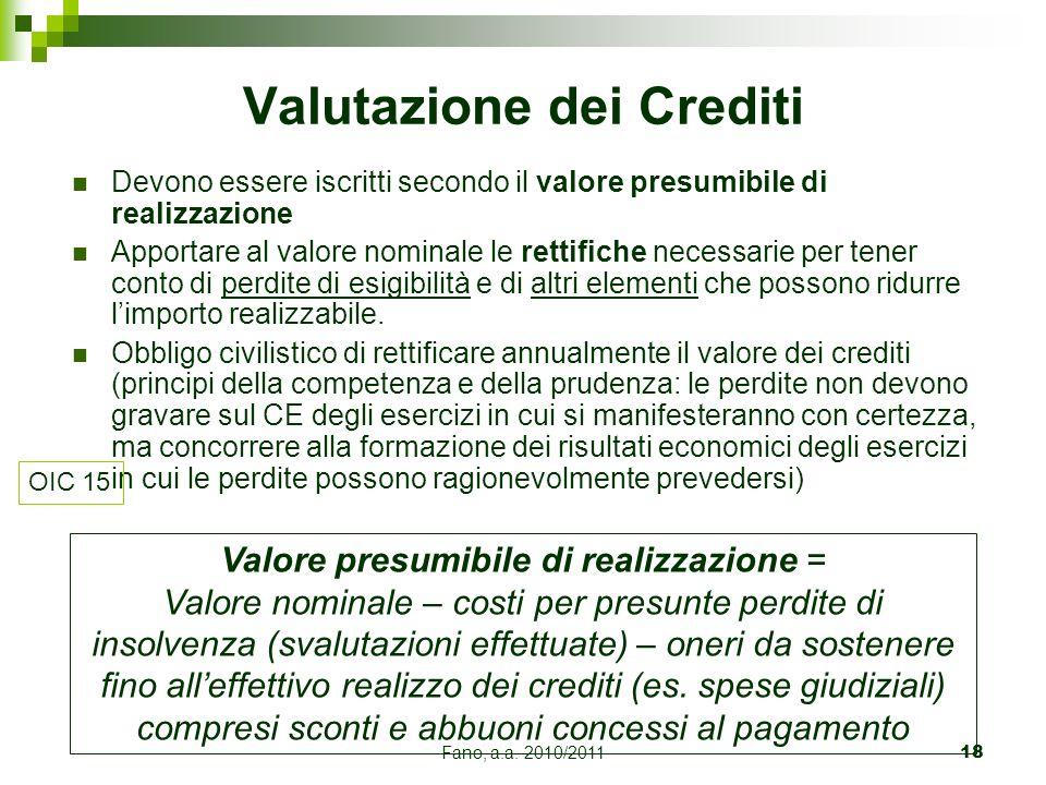 Fano, a.a. 2010/201118 Devono essere iscritti secondo il valore presumibile di realizzazione Apportare al valore nominale le rettifiche necessarie per
