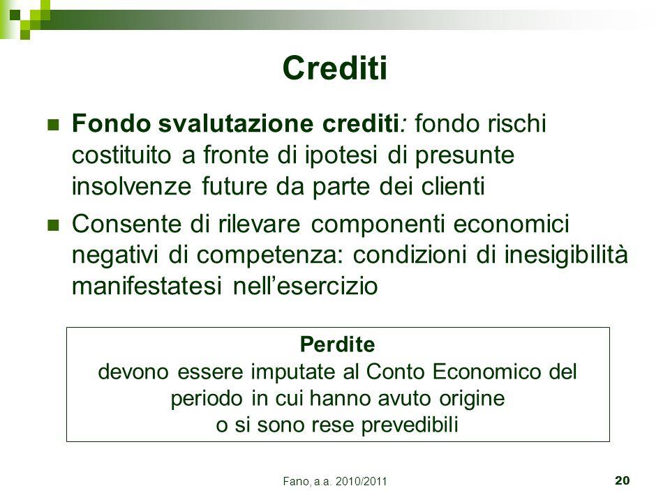 Fano, a.a. 2010/201120 Fondo svalutazione crediti: fondo rischi costituito a fronte di ipotesi di presunte insolvenze future da parte dei clienti Cons