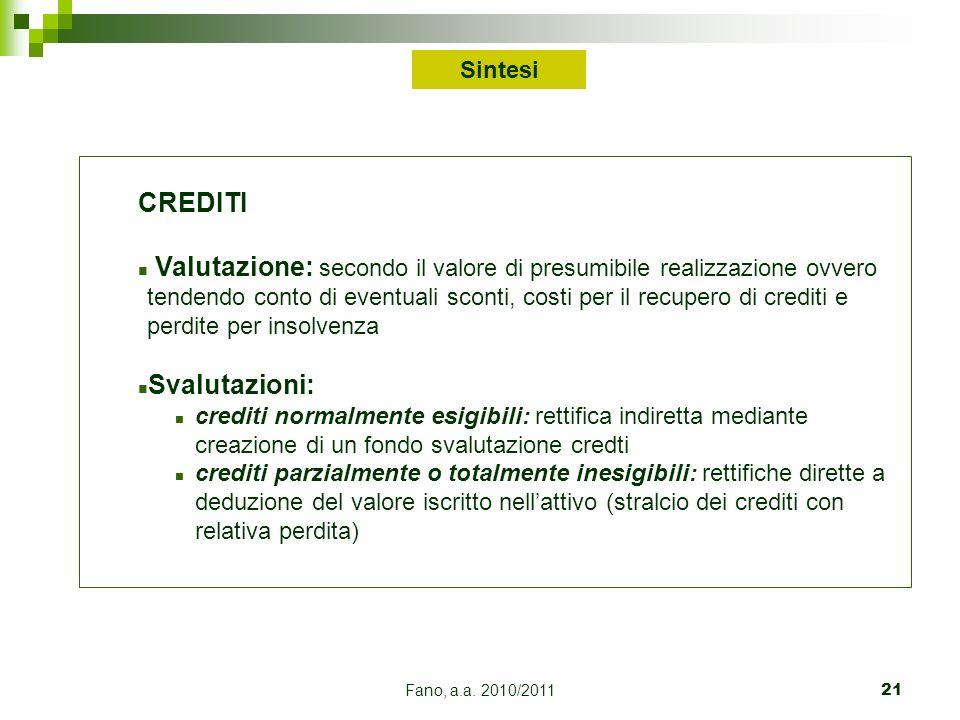 Fano, a.a. 2010/201121 CREDITI n Valutazione: secondo il valore di presumibile realizzazione ovvero tendendo conto di eventuali sconti, costi per il r