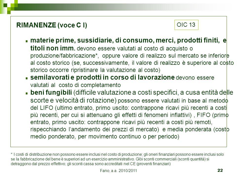 Fano, a.a. 2010/201122 RIMANENZE (voce C I) n materie prime, sussidiarie, di consumo, merci, prodotti finiti, e titoli non imm. devono essere valutati