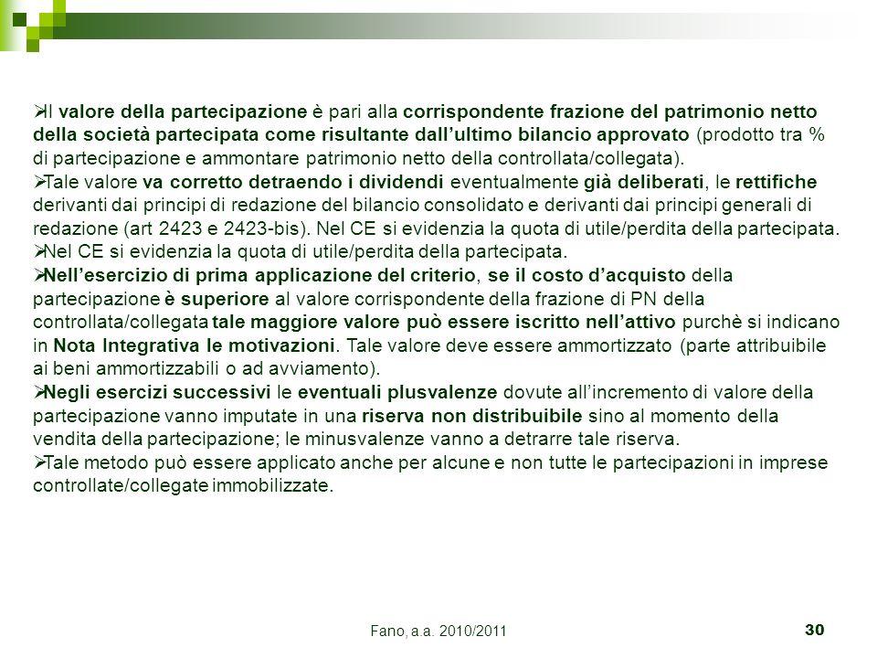 Fano, a.a. 2010/201130 Il valore della partecipazione è pari alla corrispondente frazione del patrimonio netto della società partecipata come risultan