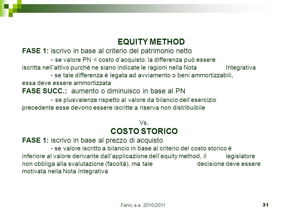Fano, a.a. 2010/201131 EQUITY METHOD FASE 1: iscrivo in base al criterio del patrimonio netto - se valore PN < costo dacquisto: la differenza può esse