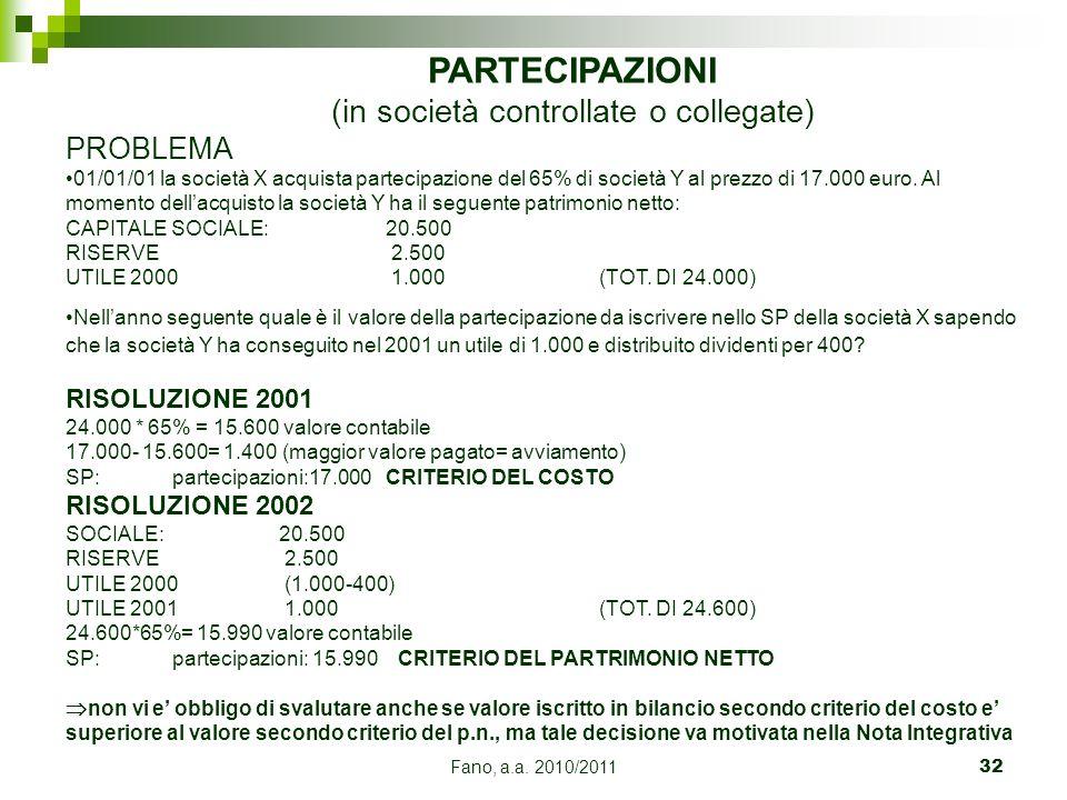 Fano, a.a. 2010/201132 PARTECIPAZIONI (in società controllate o collegate) PROBLEMA 01/01/01 la società X acquista partecipazione del 65% di società Y