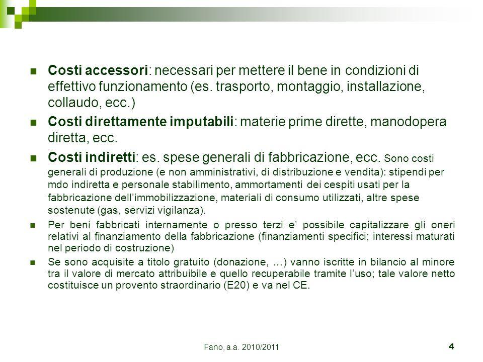 Fano, a.a. 2010/20114 Costi accessori: necessari per mettere il bene in condizioni di effettivo funzionamento (es. trasporto, montaggio, installazione