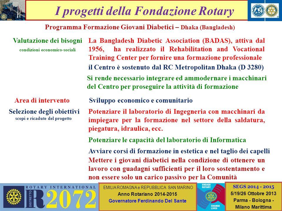 I progetti della Fondazione Rotary Valutazione dei bisogni condizioni economico-sociali Area di intervento Selezione degli obiettivi scopi e ricadute