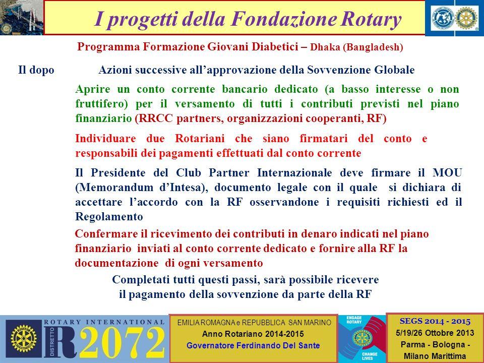 I progetti della Fondazione Rotary Programma Formazione Giovani Diabetici – Dhaka (Bangladesh) Il dopo Individuare due Rotariani che siano firmatari d