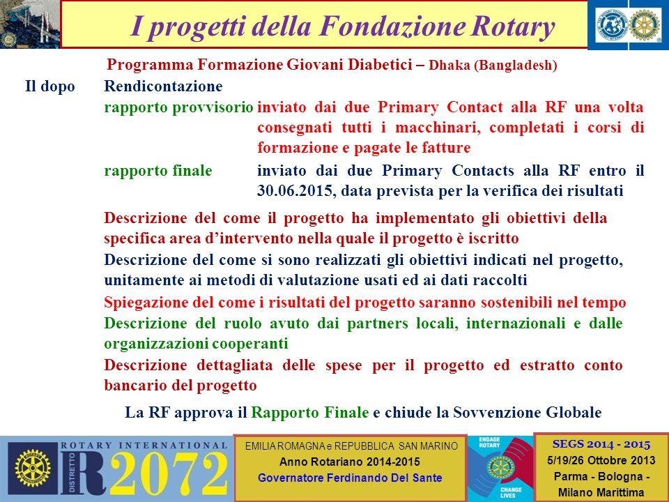 I progetti della Fondazione Rotary Programma Formazione Giovani Diabetici – Dhaka (Bangladesh) Il dopo inviato dai due Primary Contact alla RF una vol