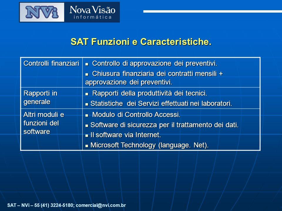 SAT Funzioni e Caracteristiche. Controlli finanziari Controllo di approvazione dei preventivi.