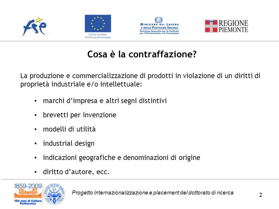 Progetto Internazionalizzazione e placement del dottorato di ricerca Cosa è la contraffazione.