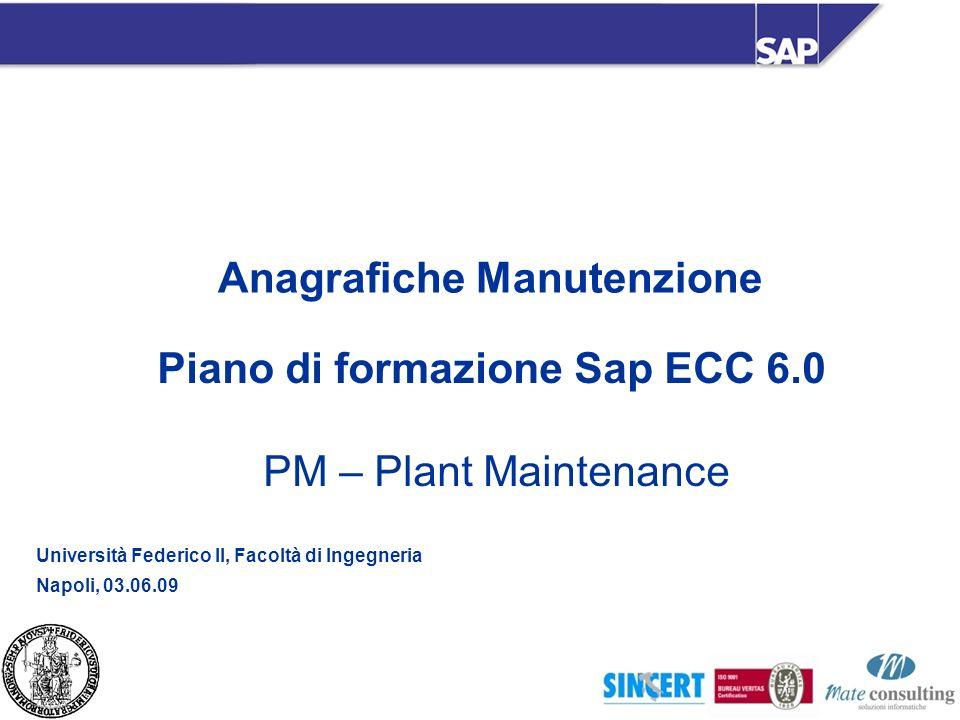 Agenda - Modulo SAP ECC 6.0 - PM Gestione Sedi Tecniche ed Equipment Struttura gerarchica Sede Tecnica Punti di misura e contatori Reportistica Oggetti Tecnici