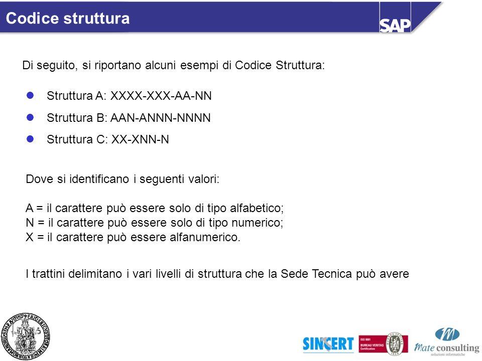 Codice struttura Di seguito, si riportano alcuni esempi di Codice Struttura: Struttura A: XXXX-XXX-AA-NN Struttura B: AAN-ANNN-NNNN Struttura C: XX-XN