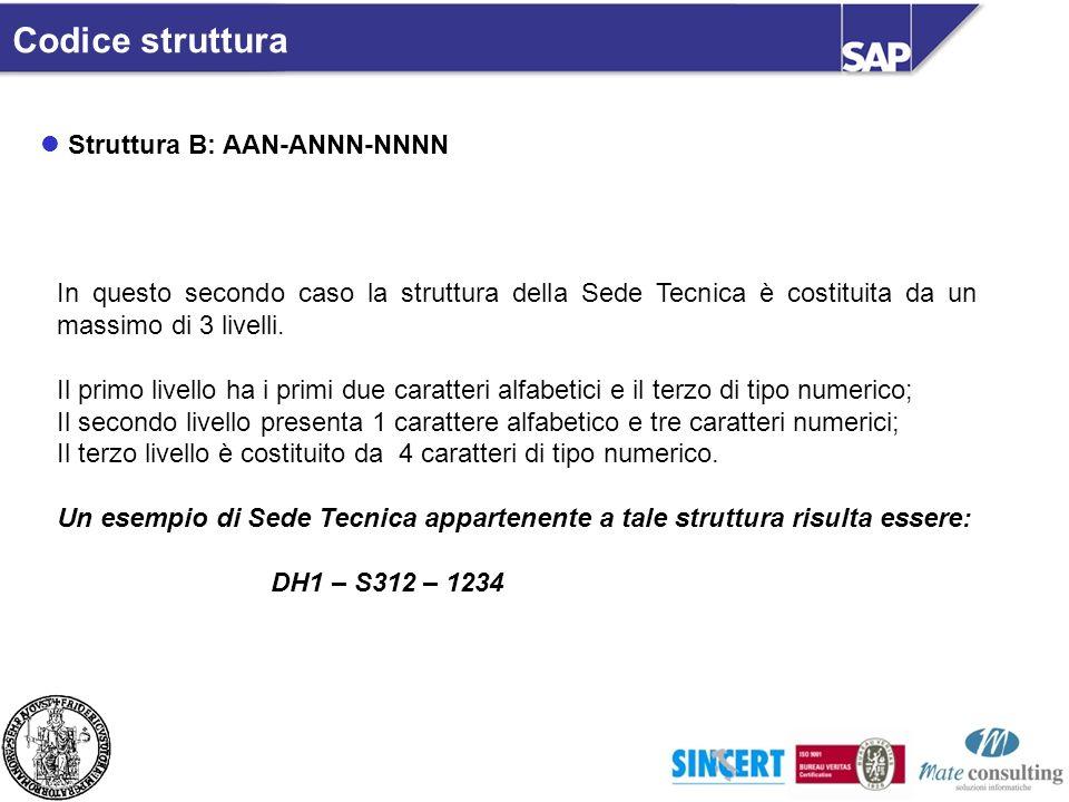 Codice struttura Struttura B: AAN-ANNN-NNNN In questo secondo caso la struttura della Sede Tecnica è costituita da un massimo di 3 livelli. Il primo l