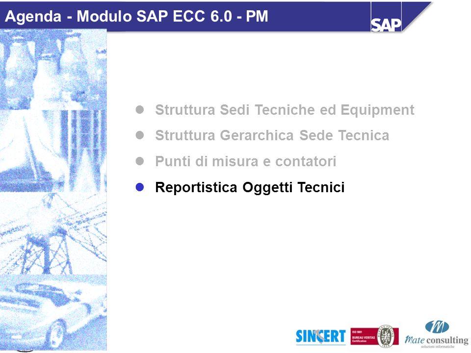 Struttura Sedi Tecniche ed Equipment Struttura Gerarchica Sede Tecnica Punti di misura e contatori Reportistica Oggetti Tecnici Agenda - Modulo SAP EC
