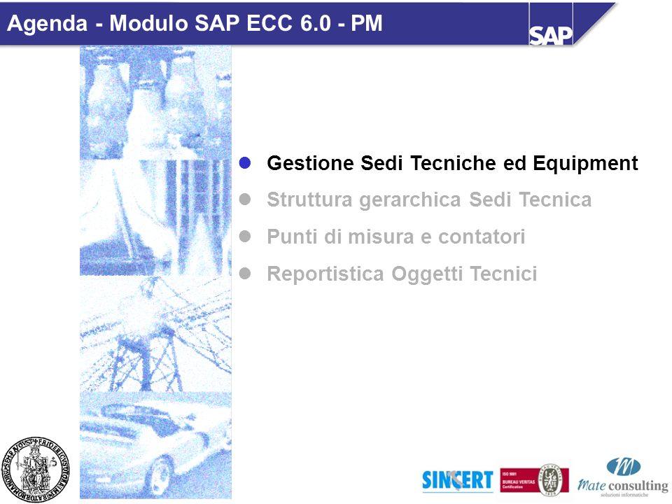 Gestione Sedi Tecniche ed Equipment Struttura gerarchica Sedi Tecnica Punti di misura e contatori Reportistica Oggetti Tecnici Agenda - Modulo SAP ECC