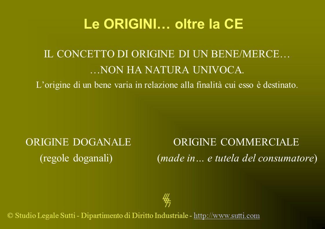© Studio Legale Sutti - Dipartimento di Diritto Industriale - http://www.sutti.comhttp://www.sutti.com Le ORIGINI… oltre la CE IL CONCETTO DI ORIGINE