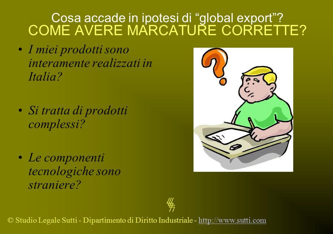 © Studio Legale Sutti - Dipartimento di Diritto Industriale - http://www.sutti.comhttp://www.sutti.com Cosa accade in ipotesi di global export? COME A