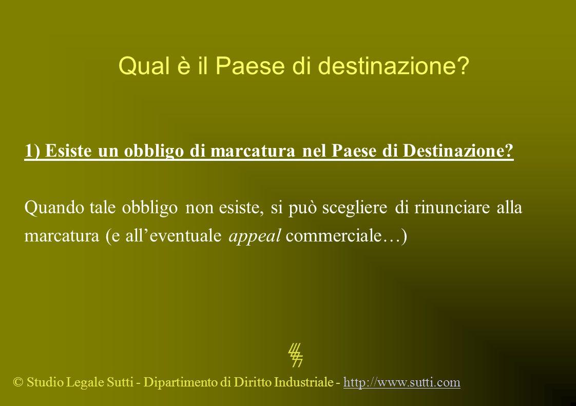 © Studio Legale Sutti - Dipartimento di Diritto Industriale - http://www.sutti.comhttp://www.sutti.com Qual è il Paese di destinazione? 1) Esiste un o