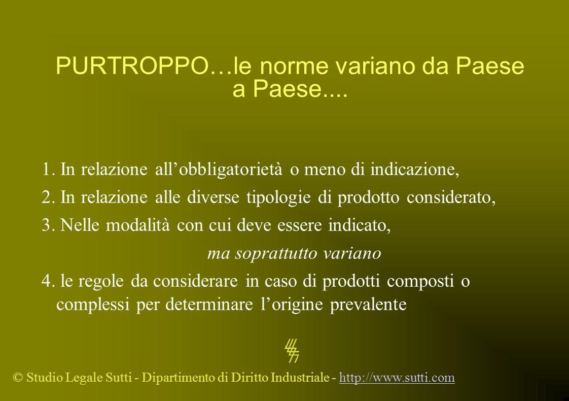 © Studio Legale Sutti - Dipartimento di Diritto Industriale - http://www.sutti.comhttp://www.sutti.com PURTROPPO…le norme variano da Paese a Paese....