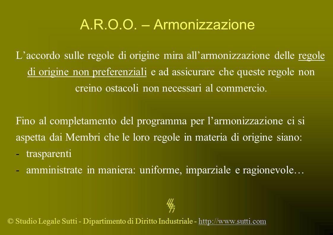 © Studio Legale Sutti - Dipartimento di Diritto Industriale - http://www.sutti.comhttp://www.sutti.com A.R.O.O. – Armonizzazione Laccordo sulle regole