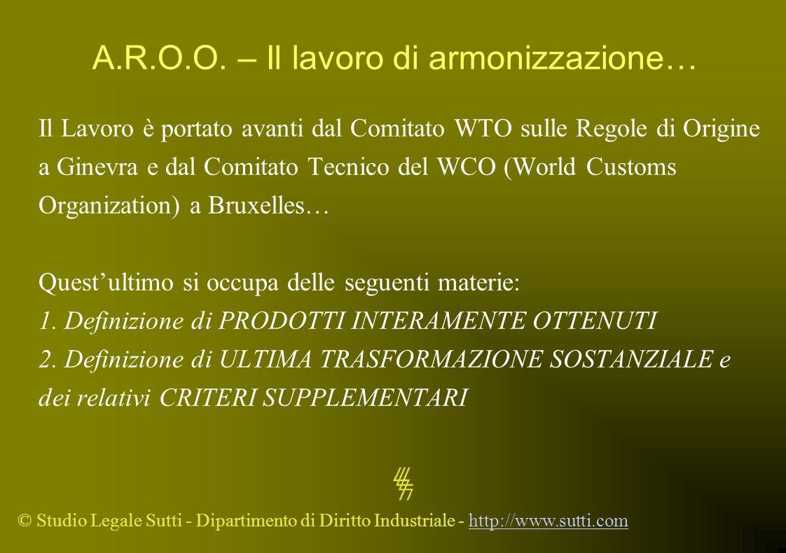 © Studio Legale Sutti - Dipartimento di Diritto Industriale - http://www.sutti.comhttp://www.sutti.com A.R.O.O. – Il lavoro di armonizzazione… Il Lavo