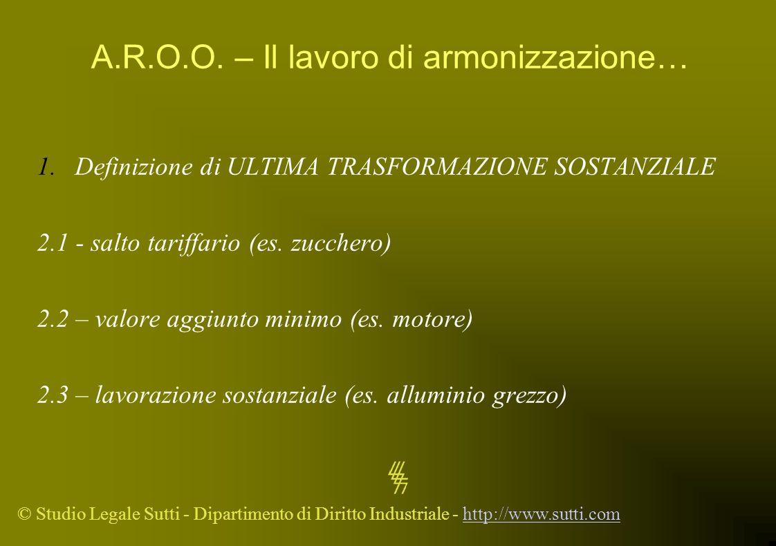 © Studio Legale Sutti - Dipartimento di Diritto Industriale - http://www.sutti.comhttp://www.sutti.com A.R.O.O. – Il lavoro di armonizzazione… 1.Defin