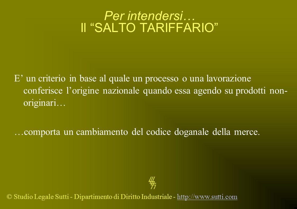 © Studio Legale Sutti - Dipartimento di Diritto Industriale - http://www.sutti.comhttp://www.sutti.com Per intendersi… Il SALTO TARIFFARIO E un criter