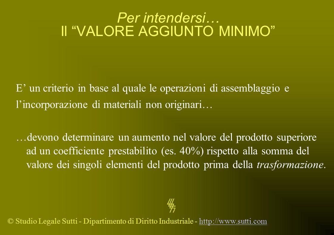 © Studio Legale Sutti - Dipartimento di Diritto Industriale - http://www.sutti.comhttp://www.sutti.com Per intendersi… Il VALORE AGGIUNTO MINIMO E un