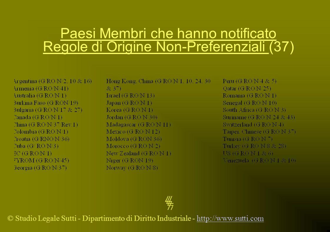 © Studio Legale Sutti - Dipartimento di Diritto Industriale - http://www.sutti.comhttp://www.sutti.com Paesi Membri che hanno notificato Regole di Ori