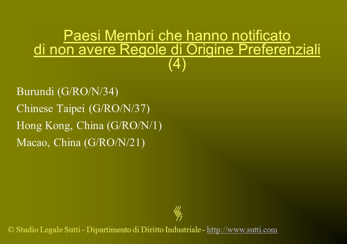 © Studio Legale Sutti - Dipartimento di Diritto Industriale - http://www.sutti.comhttp://www.sutti.com Paesi Membri che hanno notificato di non avere