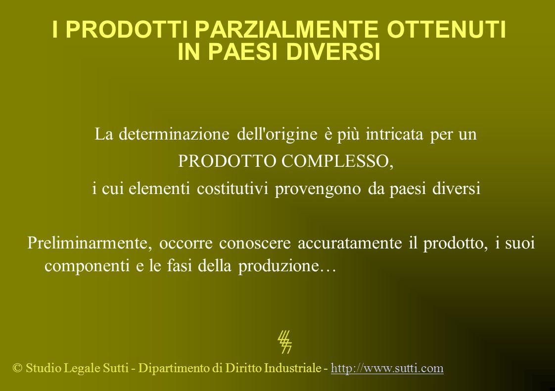 © Studio Legale Sutti - Dipartimento di Diritto Industriale - http://www.sutti.comhttp://www.sutti.com I PRODOTTI PARZIALMENTE OTTENUTI IN PAESI DIVER