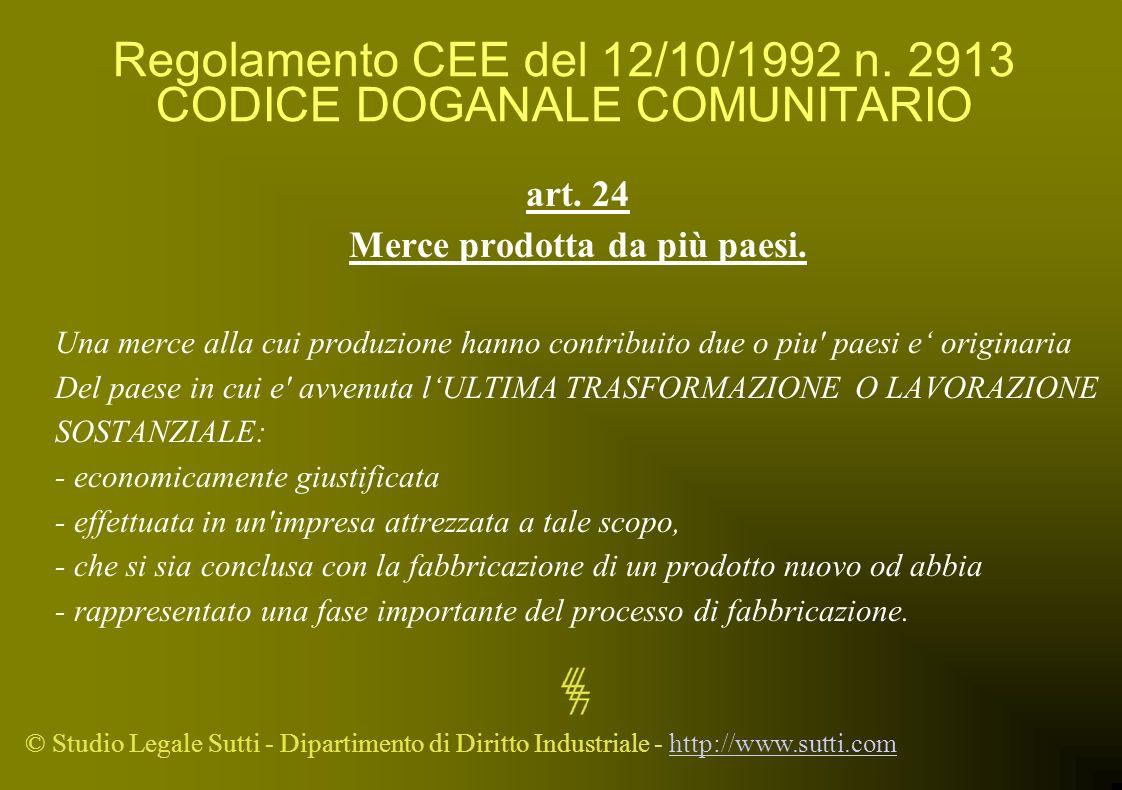 © Studio Legale Sutti - Dipartimento di Diritto Industriale - http://www.sutti.comhttp://www.sutti.com Regolamento CEE del 12/10/1992 n. 2913 CODICE D